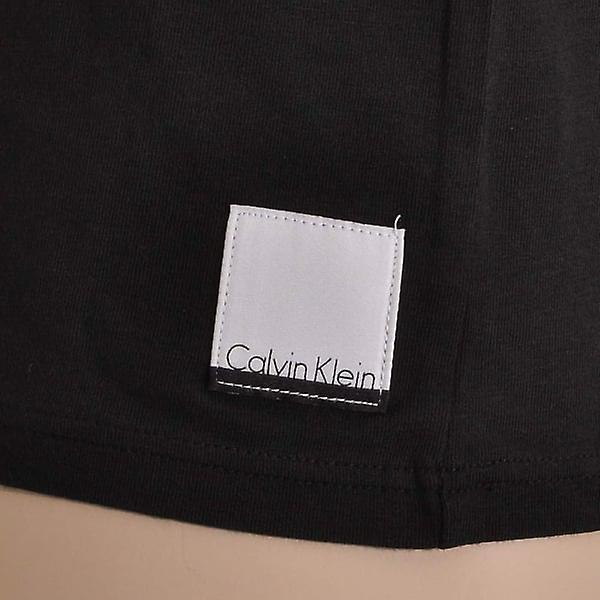 Calvin Klein ID bomull korte ermer slank form hals t skjorte 2 Pack, svart, store