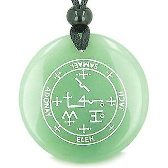 大天使サマエル魔法のお守り緑のキラキラ輝く魔法の精神的なペンダント ネックレスの印章