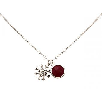Gemshine halskjede anheng SCHNEEFLOCKE 925 sølv Ruby Rød 1,3 cm