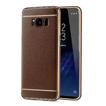 Matkapuhelin tapauksessa Samsung Galaxy S8 Plus suojakotelo + laukku faux nahka Brown