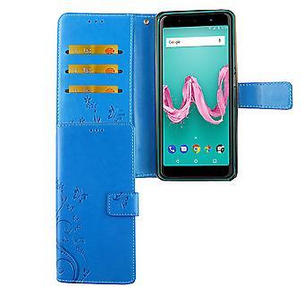 Cubierta de caja protectora bolsa WIKO Lenny 5 teléfono celular Flip titular caso azul