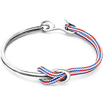 Kotva a posádka Tay striebro a lano náramok-červená/biela/modrá