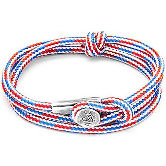 Anchor and Crew Dundee Silver and Rope Bracelet - Red/White/Blue