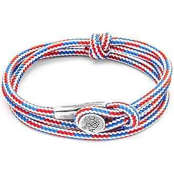 Âncora e tripulação Dundee prata e corda pulseira - vermelho/branco/azul
