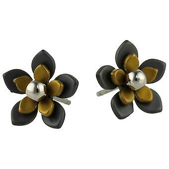 Ti2 טיטניום שחור גב Five כותרת פרח עגיל פתוח-בז טאן
