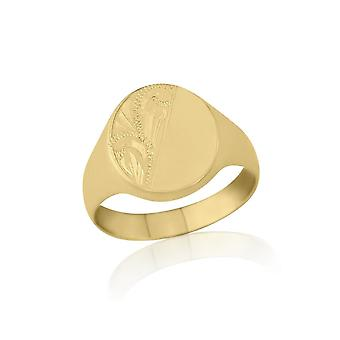 Star Wedding Rings Oval-Shaped 9ct Yellow Gold Medium Weight Engraved Signet Ring