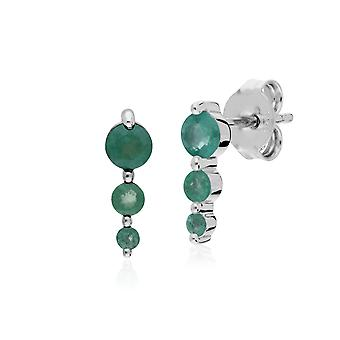 Classic Round Emerald Gradient Drop Stud Earrings in 925 Sterling Silver 270E025507925