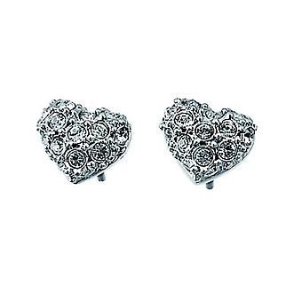 Oliver Weber Post Earring Full Heart Rhodium Crystal