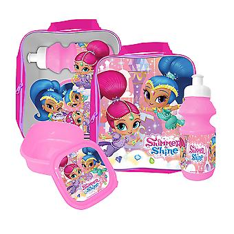Shimmer and Shine bag with lunchbox and water bottle