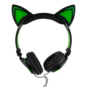 LED headphones with cat ears-black and green