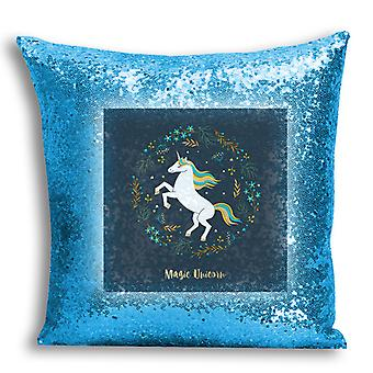 i-Tronixs - Unicorn Printed Design Blue Sequin Cushion / Pillow Cover with Inserted Pillow for Home Decor - 12