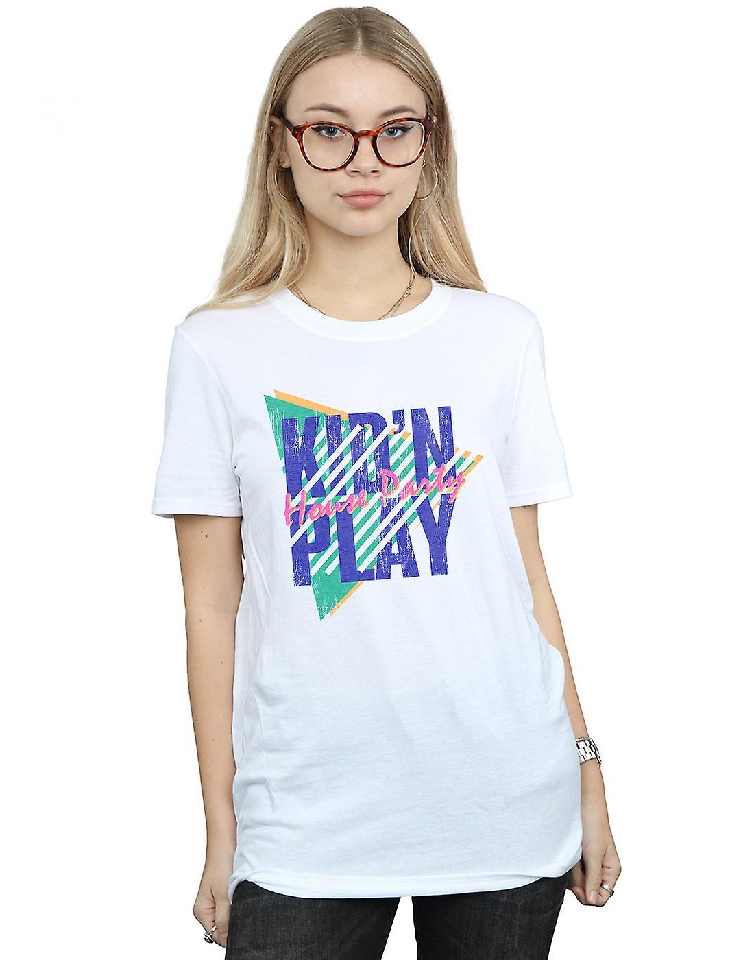 Kid N Play Women's House Party Stripes Boyfriend Fit T-Shirt
