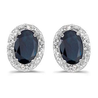 LXR 10k Weißgold Oval Saphir und Diamant Ohrringe 0.78 ct