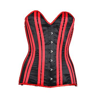 Killer Corsets Women's Corset Satin Black Underbust Victorian Design Red Ribbons