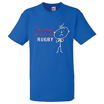 Mens I'd Rather Be Playing Rugby Royal Blue Tshirt