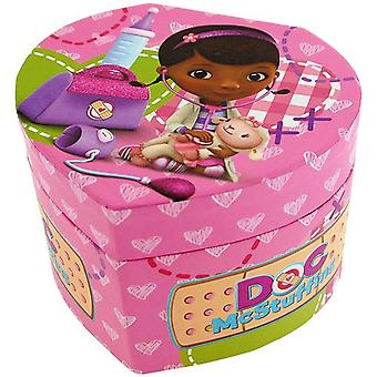 Doc McStuffins Girls Heart Shape Jewellery Trinket Box With Mirror On Lid