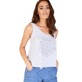 Double Agent Marl Grey Vest Top With Dream Catcher Graphic