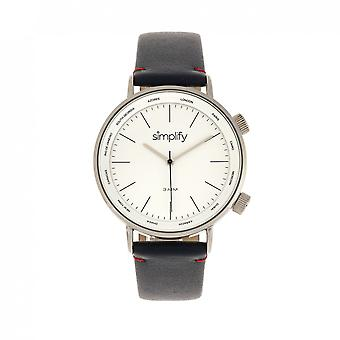 Simplify The 3300 Leather-Band Watch - Navy/White