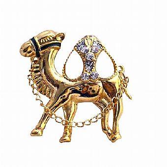 Gobba di cammello oro zircone vetro perline con catena spilla cammello