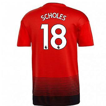 2018-2019 Man Utd Adidas Home Football Shirt (Scholes 18)