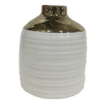 Vaso cerâmica branca/ouro