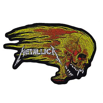 Metallica Flaming Skull Cut Out Woven Patch