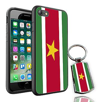 For Sony Xperia XA - Suriname Flag Design Printed Black Case Skin Cover + Free Metal Keyring - 0168 by i-Tronixs