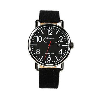 J. beugels Camden Leather-Band Watch w/datum-zwart/rood