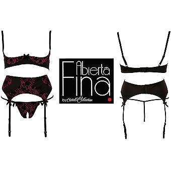 'Abierta Fina' od Cottelli Red 3 Piece Set Bra,Szelki,Stringi (22201