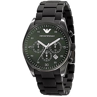 Armani Sport Mens Ar5922 Chrono Green Dial Quartz Silicon Watch