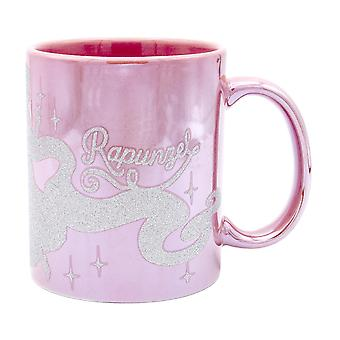 Disney Princess Rapunzel GREAT HAIRDAY Tasse Metallic pink, Glitterdruck, Metallicglanz, 100 % Keramik,  ca. 320 ml., Geschenkbox.