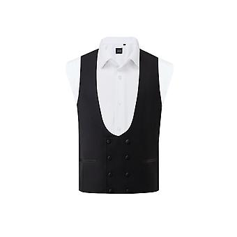 Dobell mens zwart Tuxedo gilet regular fit double breasted