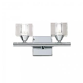 Mantra Cuadrax Wall Lamp Switched 2 Light G9, Polished Chrome