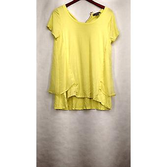 Kate & Mallory Top Short Sleeve Back Zipper Scoop Neck Yellow A417028