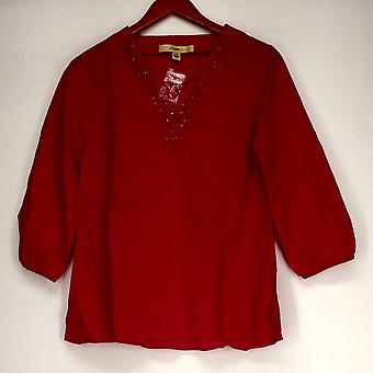 Motto 3/4 Sleeve Tunic w/ Embellished Neckline Fuchsia Pink Top #1