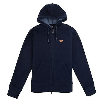 Armani Jeans Fleece In pelle Logo Hoody Navy
