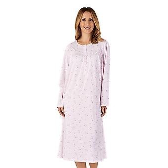 Slenderella ND4126 Women's Jersey Pink Floral Lace Nightdress