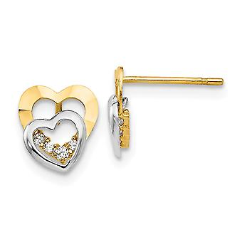 14k Madi K Two Tone Gold CZ Cubic Zirconia Simulated Diamond for boys or girls Love Heart Post Earrings