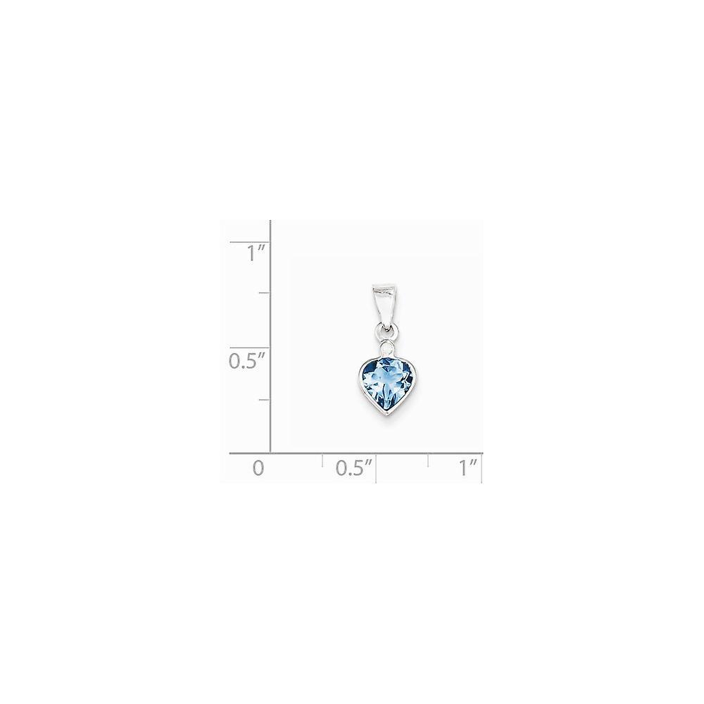 925 Sterling Silver Polished Prong set Open back Rhodium plated Rhodium Light Swiss Blue Topaz Diamond Pendant Necklace