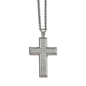 Stainless Steel Polished Cubic Zirconia Cross Necklace - 24 Inch