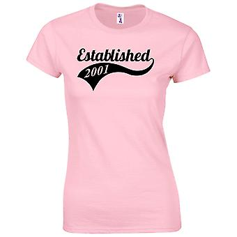 18th Birthday Gifts for Women Her Established 2001 T Shirt