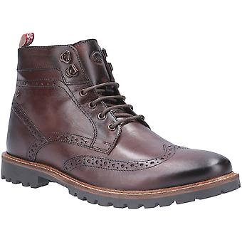 Base London Mens Bower Washed Lace Up Broge Ankle Boots