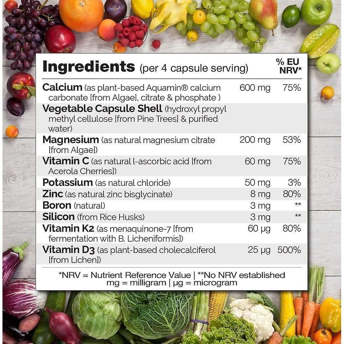 Bone styrke med naturlig kalsium, magnesium, vitamin c, D3, & K2-120 caps | 1 måned forsyning (vegan)