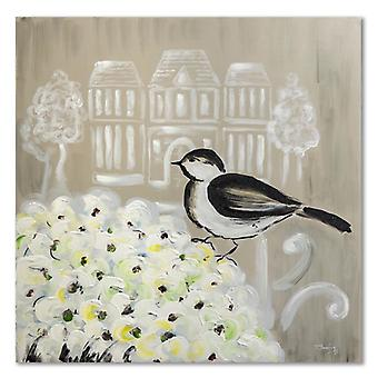 Painel do deco, flores preto e branco do pássaro