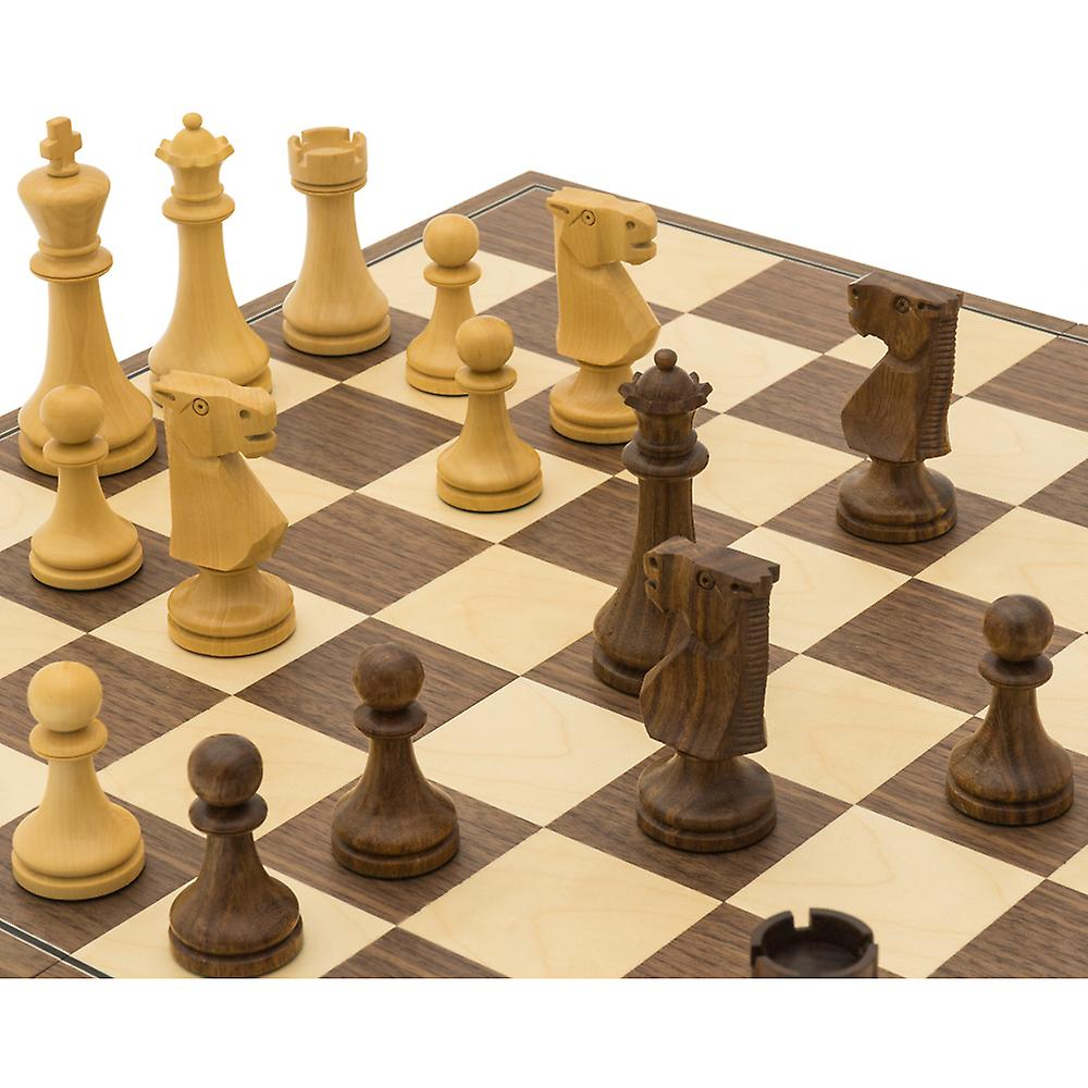 The Pioneer Golden Rosewood and Walnut Folding Chess Set