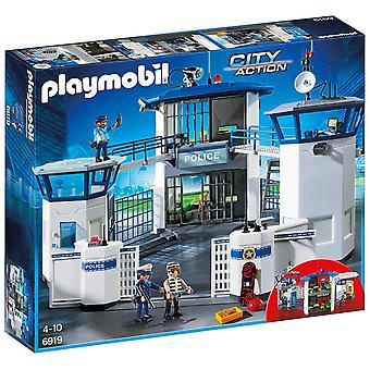Jefatura de policía de acción ciudad de Playmobil con la prisión