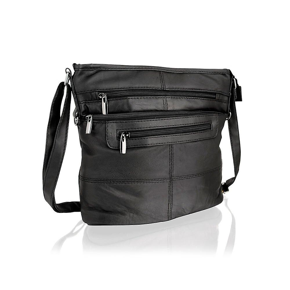 Black Leather Multi Zip 10.0