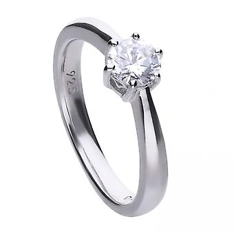 Diamonfire Silver White 6 Claw Solitaire Zirconia Ring R3619