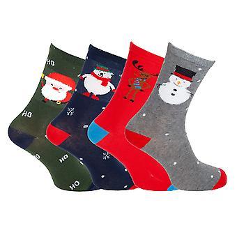 Mens Christmas Design Novelty Socks (4 Pairs)
