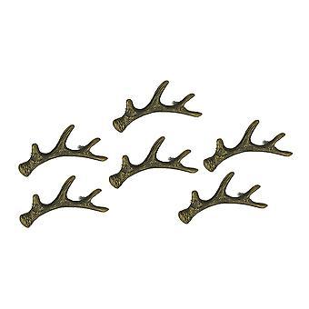 Antique Bronze Cast Iron Rustic Deer Antler Drawer Pull Cabinet Handle Set of 6